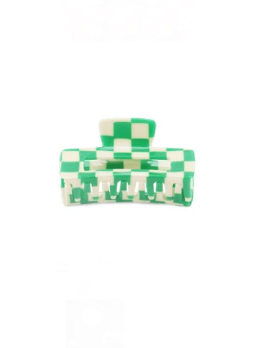 Lattice Green Cellulose Acetate Minimalist Geometric Zinc Alloy Jaw Hair Claw