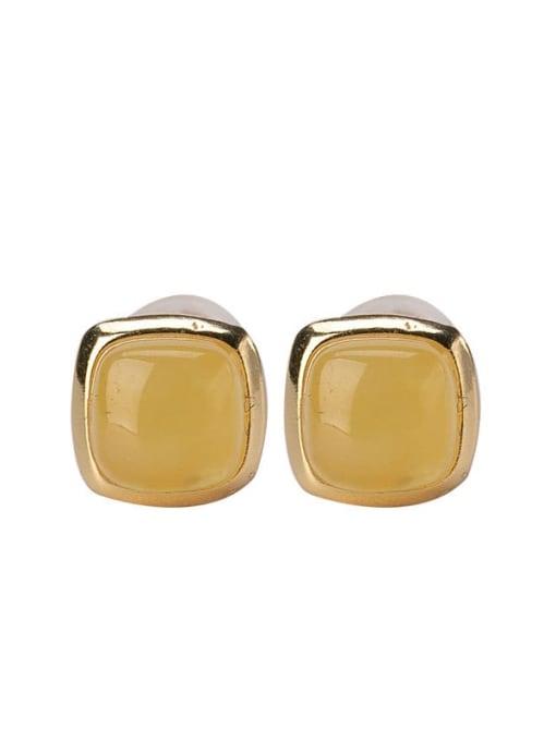 DEER 925 Sterling Silver Amber Square Minimalist Stud Earring 2