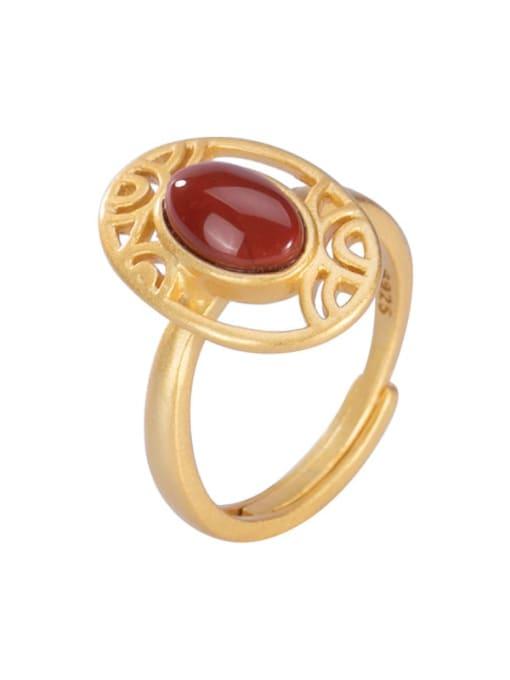 DEER 925 Sterling Silver Carnelian Geometric Vintage Band Ring