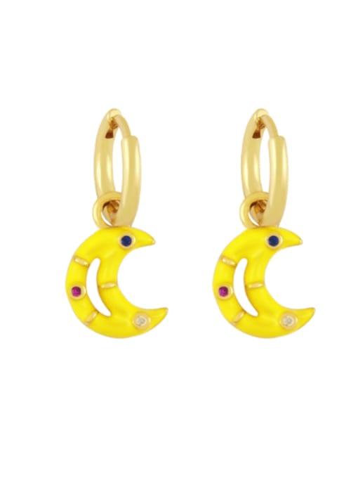 yellow Brass Enamel Moon Hip Hop Huggie Earring