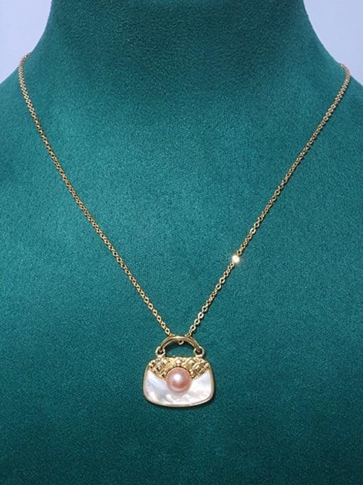 RAIN Brass Shell Square Bag Minimalist Pendant Necklace 2