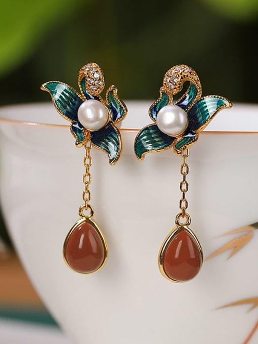 DEER 925 Sterling Silver Agate Enamel Flower Vintage Drop Earring 2