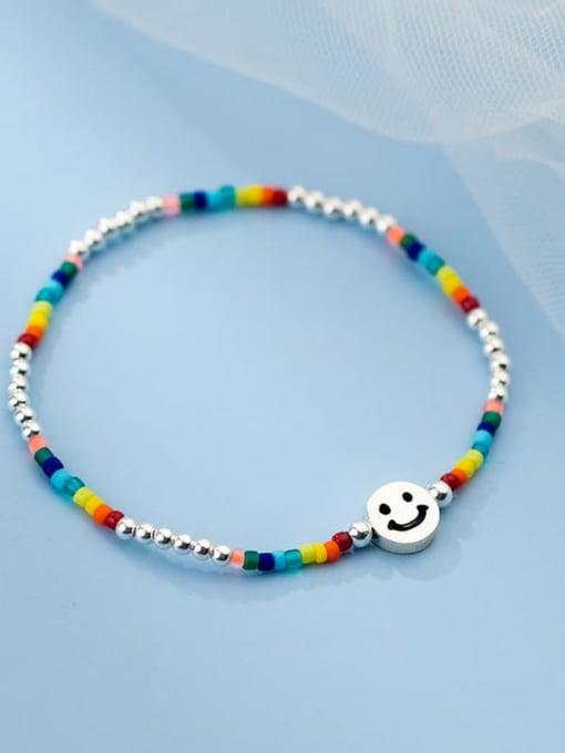 Rosh 925 Sterling Silver Multi Color Round Minimalist Stretch Bracelet 2
