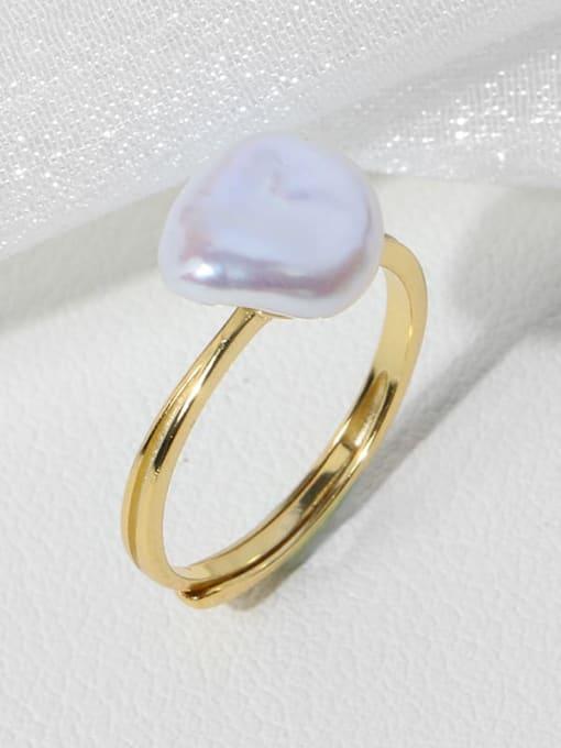 RAIN Brass Freshwater Pearl Irregular Minimalist Band Ring 1