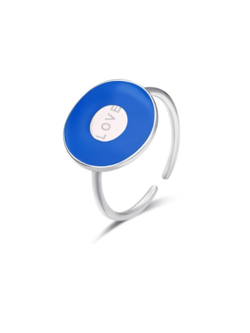 Boomer Cat 925 Sterling Silver Enamel Geometric Minimalist Band Ring