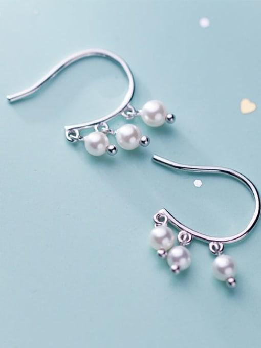 Rosh 925 Sterling Silver Imitation Pearl  Round Ball Minimalist Hook Earring 3