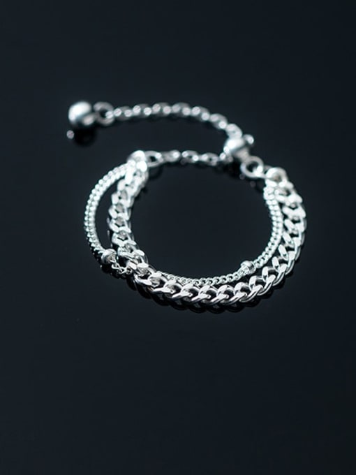 Rosh 925 Sterling Silver Smooth bead double-layer chain Vintage Stackable Ring 1