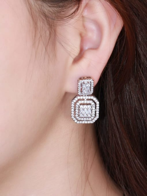 L.WIN Brass Cubic Zirconia Geometric Luxury Drop Earring 2
