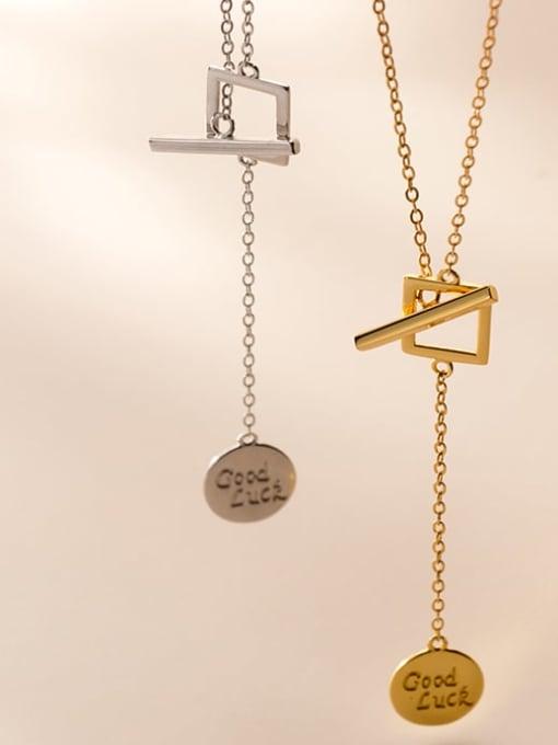 Rosh 925 Sterling Silver Minimalist  Letters Geometric tassel Lariat Necklace 2
