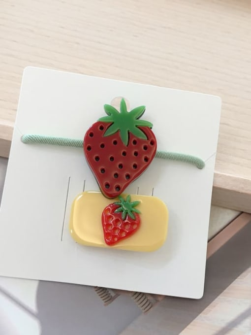 3 small strawberries Alloy Acrylic Cute Children cartoon animal fruit Hairpin Rubber band Set