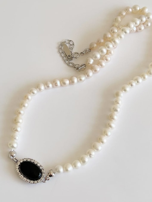 Boomer Cat 925 Sterling Silver Imitation Pearl Oval Vintage Necklace 2