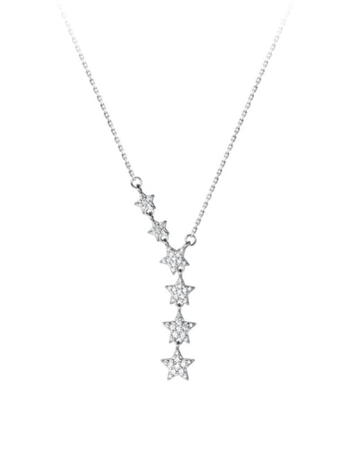 Rosh 925 Sterling Silver Cubic Zirconia Star Minimalist Lariat Necklace
