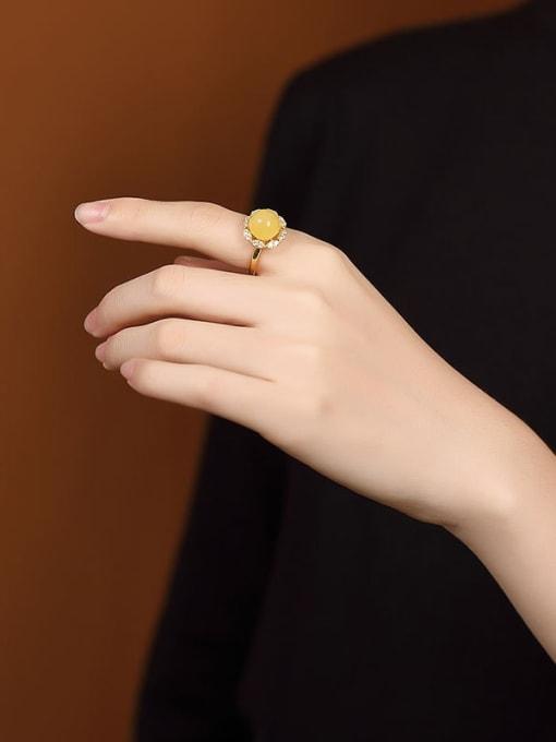 DEER 925 Sterling Silver Amber Flower Cute Band Ring 1