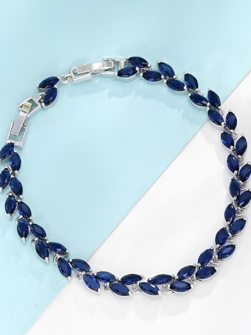 Platinum gold dark blue Brass Cubic Zirconia Multi Color Leaf Dainty Bracelet