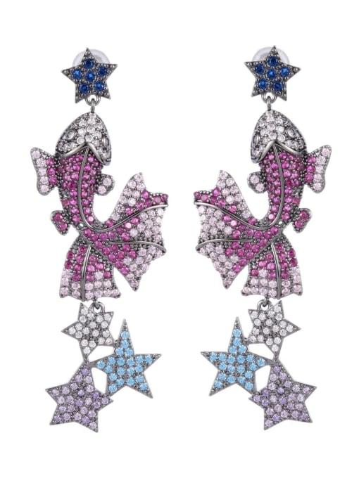 Luxu Brass Cubic Zirconia Fish Vintage Drop Earring