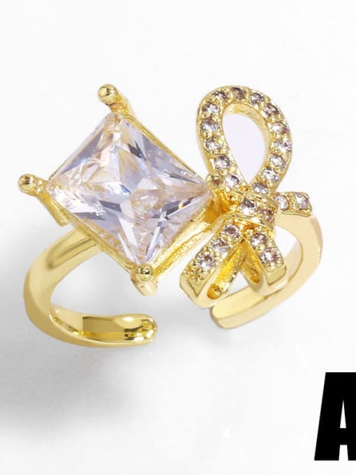 A Brass Cubic Zirconia Bowknot Trend Band Ring