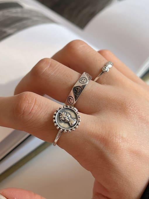 LI MUMU 925 Sterling Silver Hollow Irregular Vintage Band Ring 1