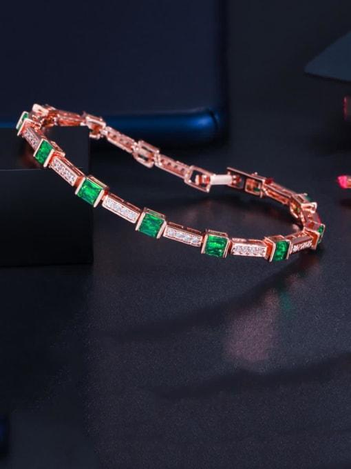 green Brass Cubic Zirconia Geometric Dainty Bracelet