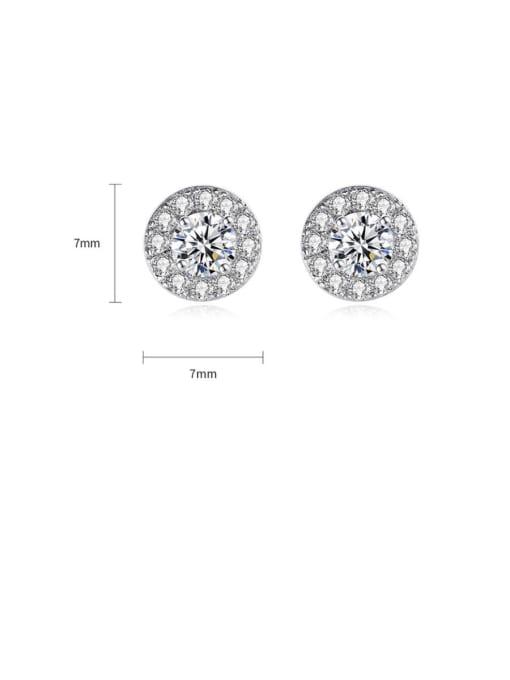 BLING SU Brass Cubic Zirconia Round Dainty Stud Earring 2