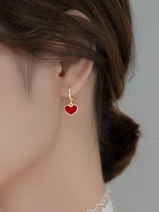 Rosh 925 Sterling Silver Enamel Heart Minimalist Huggie Earring 2