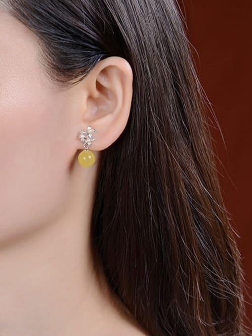 DEER 925 Sterling Silver Opal Flower Vintage Drop Earring 1