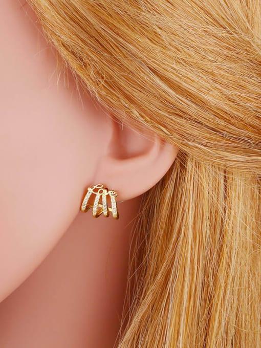 CC Brass Cubic Zirconia Tassel Hip Hop Single Earring 4