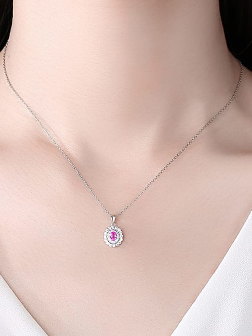 CCUI 925 Sterling Silver Cubic Zirconia Oval Minimalist Necklace 1