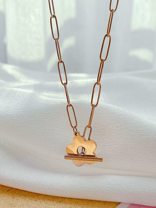 Open Sky Titanium Steel Flower Minimalist Pendant Necklace 2