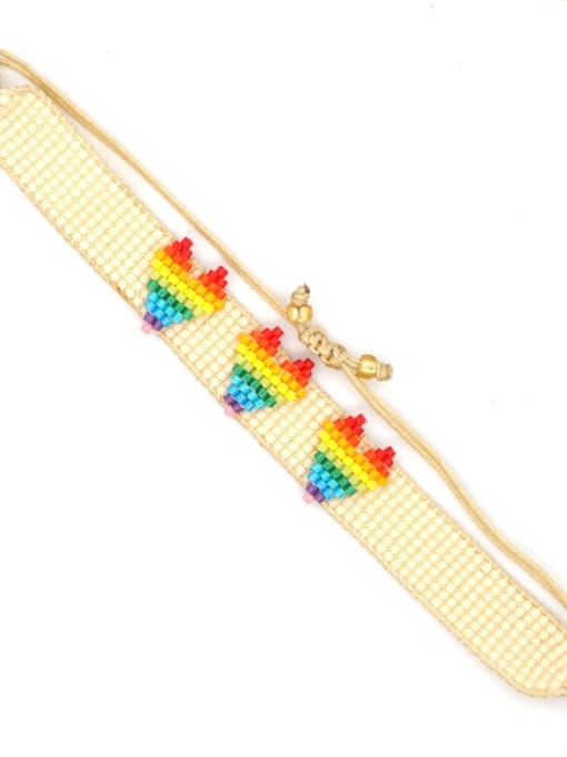 Roxi Stainless steel Multi Color Polymer Clay Letter Bohemia Handmade Weave Bracelet 1