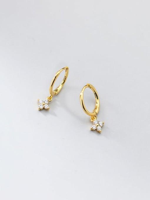 gold 925 Sterling Silver Cubic Zirconia Clover Minimalist Huggie Earring