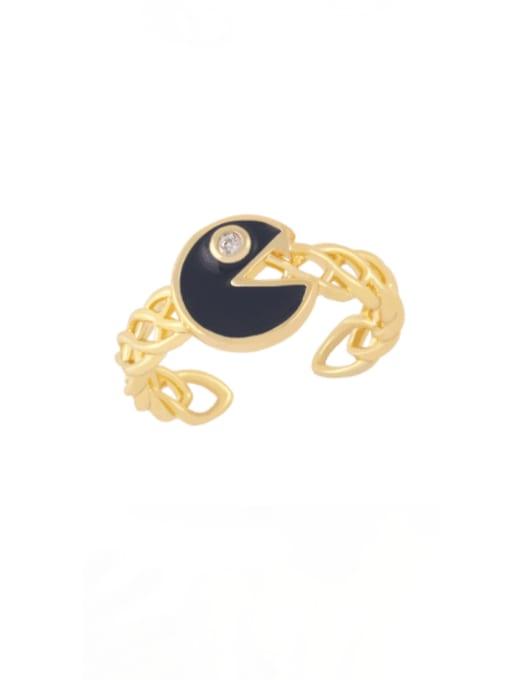 black Brass Enamel Geometric Vintage Band Ring