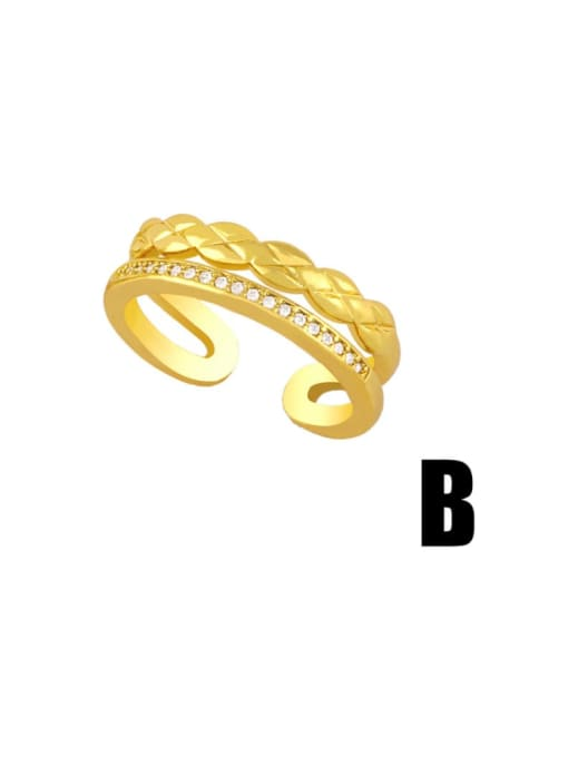 CC Brass Cubic Zirconia Geometric Vintage Band Ring 3