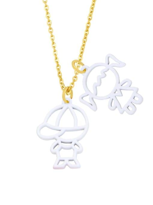 white Brass Enamel Cute Angel  Pendant Necklace