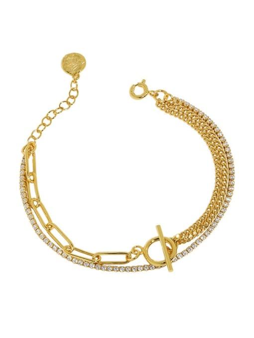18K Gold 925 Sterling Silver Geometric Vintage Strand Bracelet