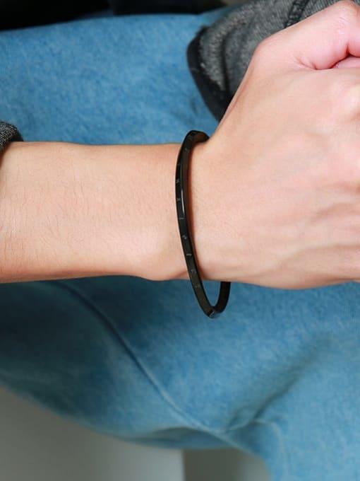 CONG Titanium Steel Geometric Minimalist Cuff Bangle 1