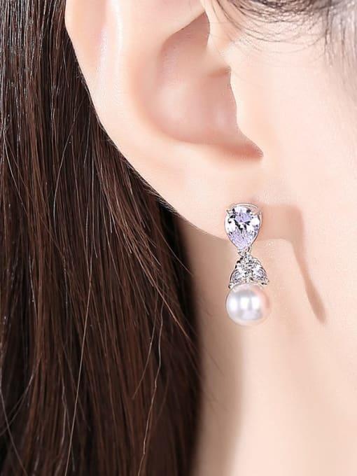 BLING SU Brass Cubic Zirconia Water Drop Minimalist Drop Earring 1