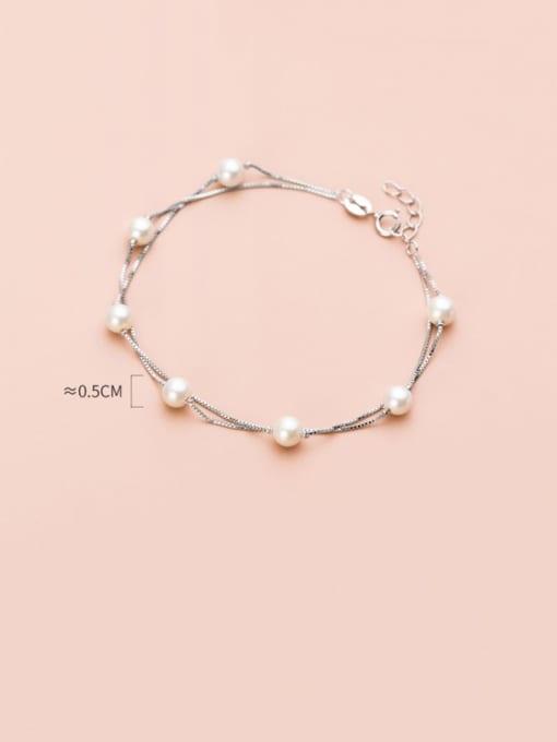 Rosh 925 Sterling Silver Imitation Pearl Round Minimalist Link Bracelet