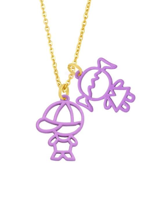 purple Brass Enamel Cute Angel  Pendant Necklace