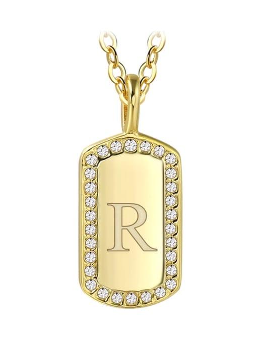 Gold Letter  R Brass Rhinestone Letter Minimalist Necklace