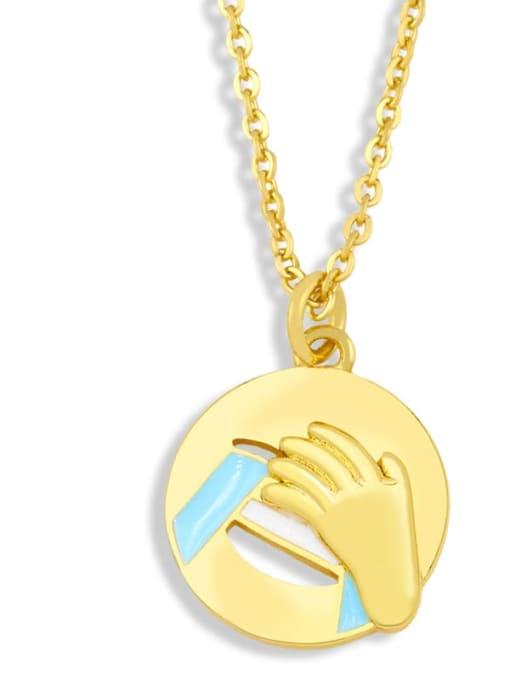nku96 C Brass Enamel Geometric Hip Hop Necklace