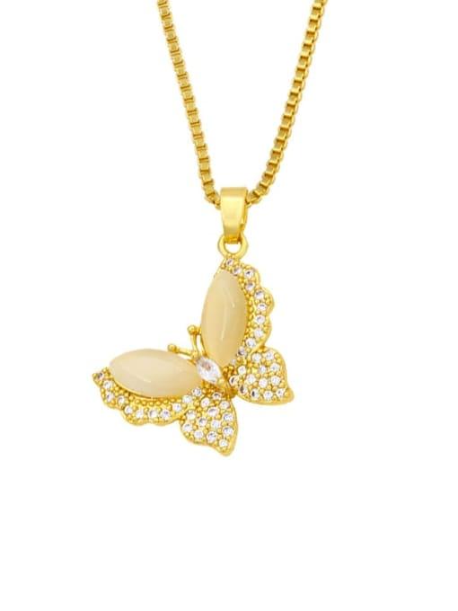 CC Brass Cubic Zirconia Enamel Butterfly Cute Necklace 1