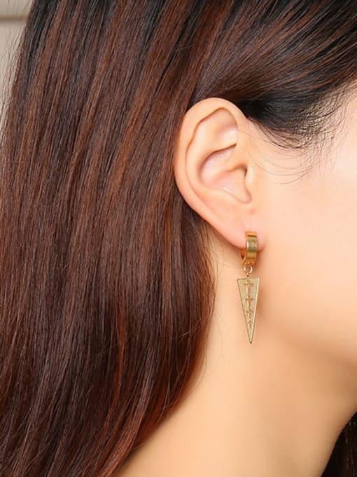 CONG Stainless steel  Hollow Cross Geometric Minimalist Huggie Earring 1