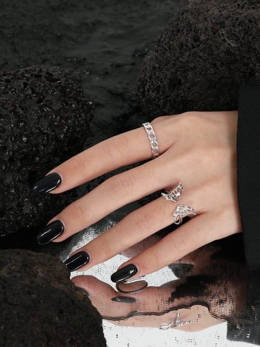 DAKA 925 Sterling Silver Geometric Chain Minimalist Band Ring 3