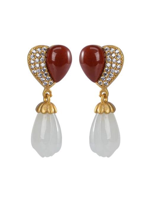 DEER 925 Sterling Silver Carnelian Heart Vintage Drop Earring 0