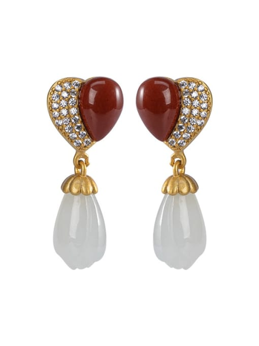 DEER 925 Sterling Silver Carnelian Heart Vintage Drop Earring