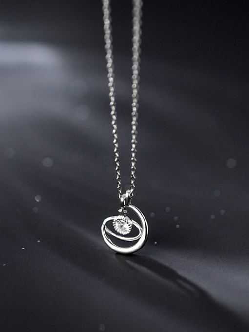 Rosh 925 Sterling Silver Rhinestone Irregular Minimalist Necklace 2
