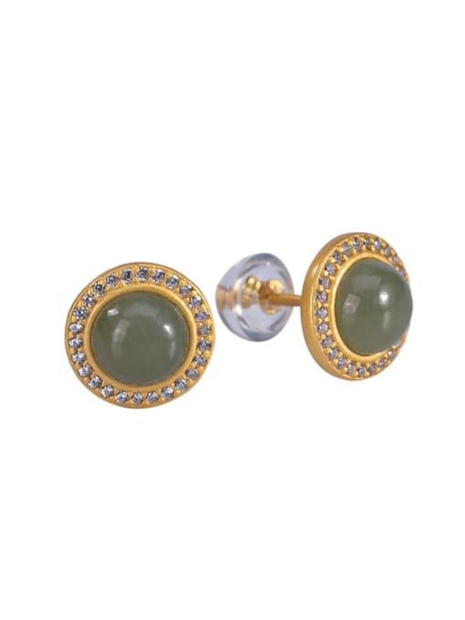 DEER 925 Sterling Silver Jade Round Vintage Stud Earring 4