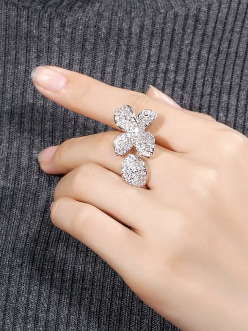 L.WIN Brass Cubic Zirconia Flower Luxury Statement Ring 2