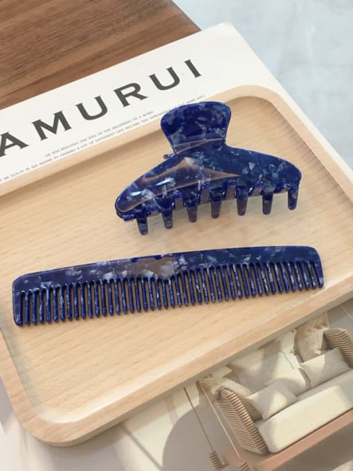 sapphire blue Set Cellulose Acetate Trend  Comb hairpin two-piece Set