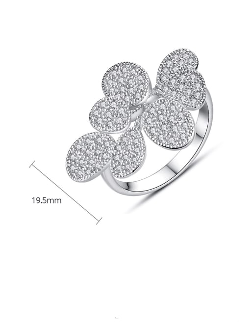 BLING SU Copper Cubic Zirconia Flower Luxury Band Ring 4
